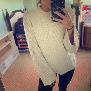 A New Day small white cream chevron knit sweater